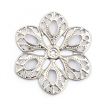 Antique Silver Filigree Flower - Set of 3