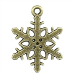 Charm Pendant - Set of 5 Antiqued Bronze Snowflake