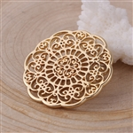 Round Flower Gold Plated Filigree - Set of 4