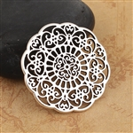 Round Antique Silver Plated Filigree - Set of 4