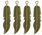 Antique Bronze Feather Charm Pendants - set of 4