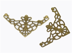 Antiqued Bronze Corner Filigree Metal Pieces - Scrapbooking - Mixed Media
