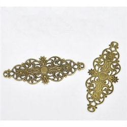 4 Piece Antiqued Bronze Tone Filigree Pieces