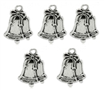 Charm Pendant - Set of 5 Silver Tone Christmas Bells