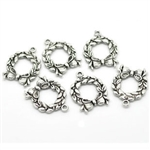 Charm Pendant - Set of 6 Antiqued Silver Tone Christmas Wreaths