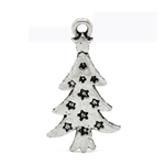Charm Pendant - Set of 5 Silver Tone Christmas Trees