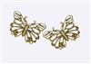 2 Piece Bronze Tone Butterfly Set Filigree Metals for Scrapbooking and Mixed Media