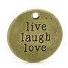 "Message Charm Pendant - Antique Bronze ""live laugh love' - set of 4"