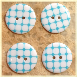Aqua Patterned Resin Buttons - 23mm