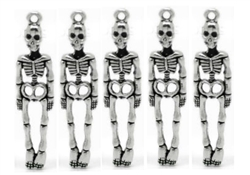 Charm Pendant - Set of 5 Silvertone Skeletons