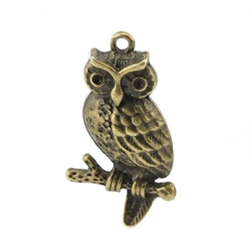 Set of 5 Bronze Tone Owl Charms