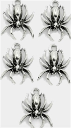 Charm Pendant - Set of 5 Silvertone Spiders