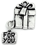 "Charm Pendant - Set of 5 Antiqued Silver Tone Christmas Gift Box with ""For You"" Message"