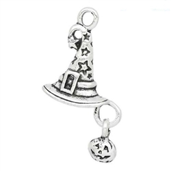 Charm Pendant - Set of 6 Silvertone Witches Hat with Jack O'Lantern Dangle