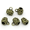 5 Piece Antiqued Bronze Tone Flower Pattern Bead Barrel
