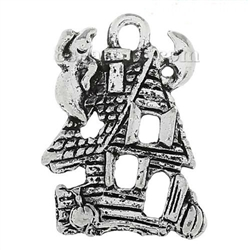 Charm Pendant - Set of 6 Silver Tone Haunted Houses