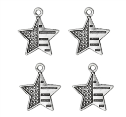 Antique Silver Dot Stripe Pattern Star - set of 4