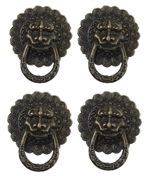 4 Piece Antiqued Bronze Lion Faced Drawer Pulls