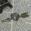 Set of 2 Antique Bronze Charms - Heart on Arrow With Glass Cabochons Setting