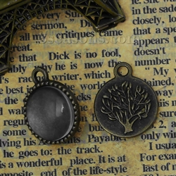 Set of 2 Charm Pendants - Antique Bronze Circles With Glass Cabochons Setting