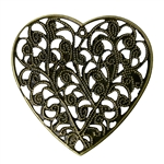 4 Piece Antique Bronze Branch Heart