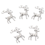 Charm Pendant - Set of 5 Antiqued Silver Tone Reindeer