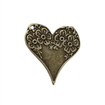 Antique Bronze Heart with Flower Charm - Set of 3