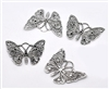4 Piece Silver Tone Butterfly Set Filigree Metals for Scrapbooking and Mixed Media