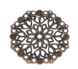 4 Piece Antiqued Round Copper Filigree Pieces - 35mm