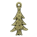 Charm Pendant - Set of 5 Antique Bronze Christmas Trees