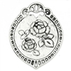 2 Piece Antiqued Silver Oval Carved Flower Charms