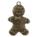 Antiqued Bronze Large Gingerbread man Charms - Set of 2