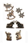8 Piece Copper Christmas Charm Set