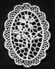 White Venise Lace Oval with Floral Pattern Appliques