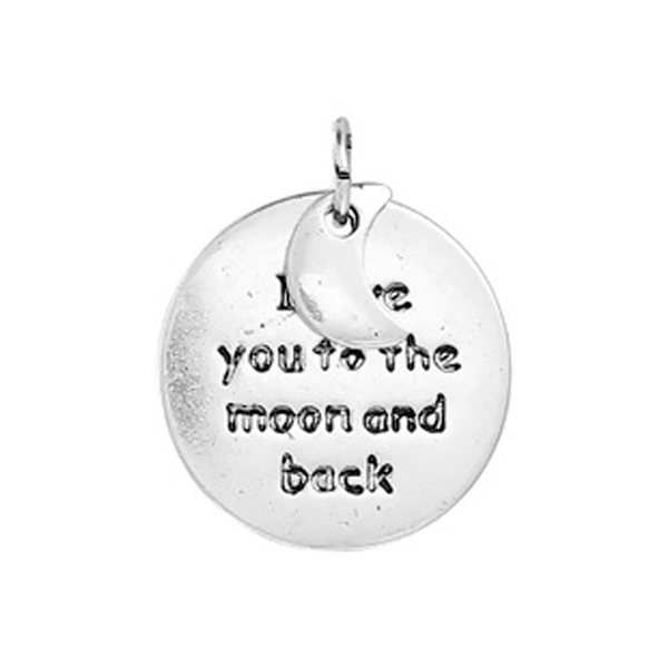 "Antique Silver ""To the Moon and Back"" Charms - Set of 3"