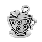 Antique Silver Teacup Charms - Set of 3