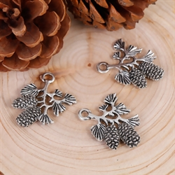 Antique Silver Pine Branch w/ Pine Cone Charms - Set of 3