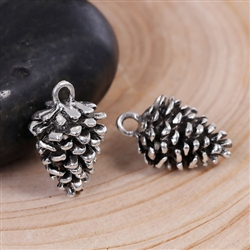 Antique Silver Pine Cone 3D Charms - Set of 3