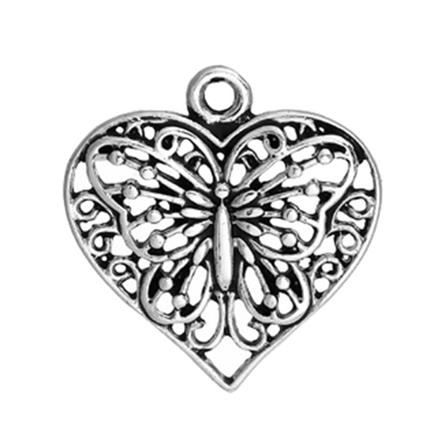 Antique Silver Butterfly Heart Charms - Set of 3