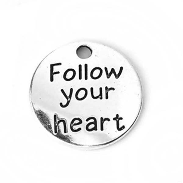 "Antique Silver ""Follow Your Heart"" Charms - Set of 4"
