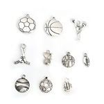Antique Silver Sports Charms - Set of 10