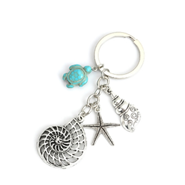 Ocean Jewelry Keychain with Keyring - Nautilus, Turtle, Seashell and Starfish
