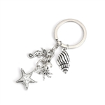 Ocean Jewelry Keychain with Keyring - Starfish, Seashell, Octopus, Seahorse
