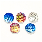 Mermaid/Dragon Scale Resin Cabochons - Set of 5