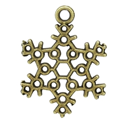 Antiqued Bronze Snowflakes Charms - Set of 5
