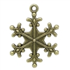 Antiqued Bronze Snowflake Charms - Set of 5