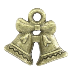 Antiqued Bronze Bell Bowknot Charms - Set of 5