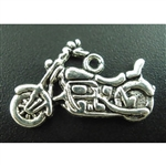 Antique Silver Motorcycle Charms - Set of 5
