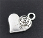 Antique Silver Heart with Flower Charms - Set of 6