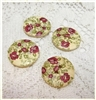 "Floral Decorated Wooden Buttons - 15/16"" Set of 4"